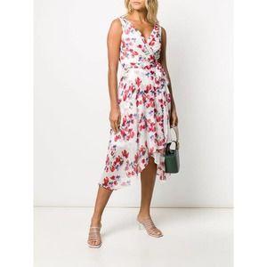 DKNY White Floral Sleeveless Asymmetrical Dress